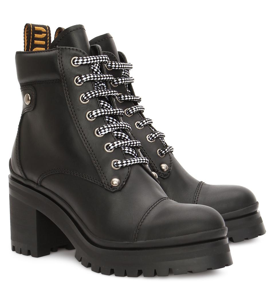 BABOCHKA SHOP Высокие ботинки из кожи Miu Miu, цвет Черный, размер 36+,  37+, 38, 38+, 39, 39+, 40, сезон FW18 bf78cdc253f
